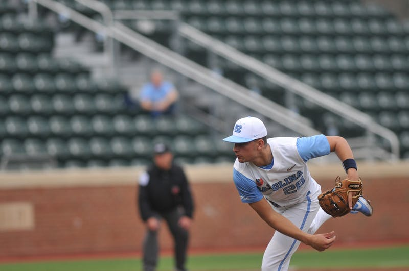 UNC first-year pitcher Max Alba (28) pitches the ball in the game against North Carolina A&T on Tuesday, Feb. 25, 2020 in Boshamer Stadium. UNC beat NC A&T 8-0.