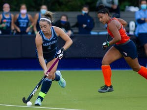 Junior forward Erin Matson (1) scored the second goal of the ACC Semifinal game against Syracuse. The Tar Heels won 4-3 in overtime on Friday, Nov. 6, 2020.