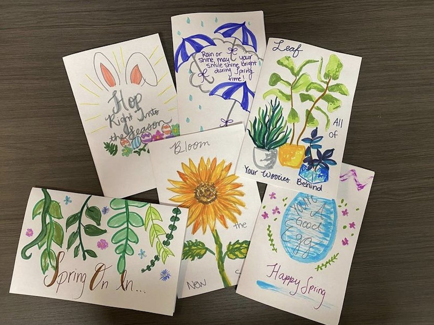 The UNC Heelgram club makes cards and sends them to people with disabilities. Photo courtesy of Reagan Fleeher.