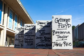 As of Sunday, June 7, 2020, the free expression blocks outside of the FPG Student Union were painted with the names of Black victims of police brutality.