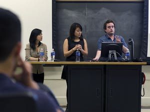 """During """"Sharing Our Experiences,"""" Anan Zhou, co-chair of Project Dinah; Kaori Sueyoshi, founder of SURGE; and Wilson Hood, managing editor of The Siren, shared their thoughts on topics ranging from reproductive justice to gender neutral housing."""