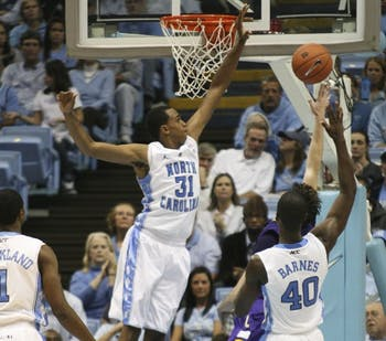 John Henson has turned away 40 of UNC's opponent's shots this season to lead the defense.