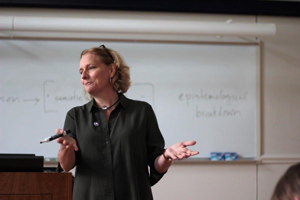 Jane Thrailkill, Associate Professor of English & Comparative Literature, teaches a class.
