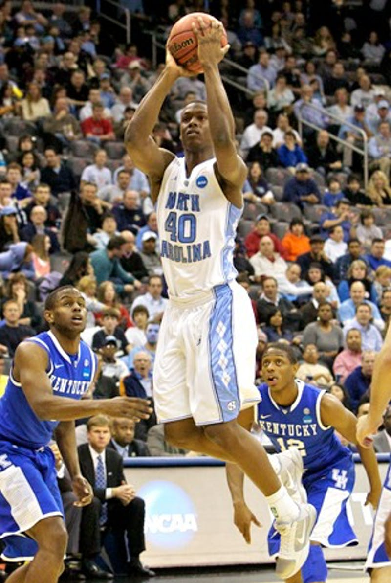 Harrison Barnes, shown against Kentucky in the NCAA tournament, has decided to return for his sophomore season at UNC.
