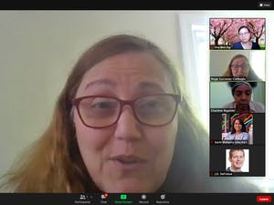 Screenshot from the Faculty Welfare Committee meeting on Monday, April 12, 2021.