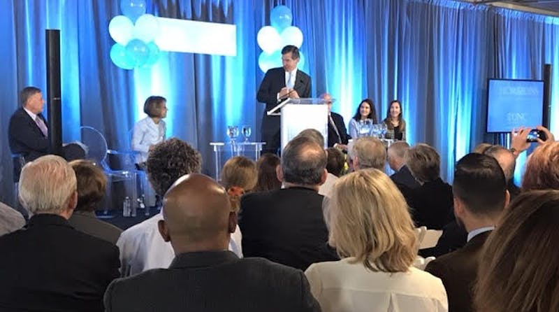 North Carolina Governor Roy Cooper speaks at the opening for the Horizons Center, which helps pregnant or parenting moms with substance abuse problems.
