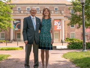 James and Susan Moeser stand outside of Carolina Performing Arts' Memorial Hall. Photo courtesy of University Development.