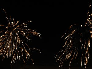 The 4th of July fireworks display in Kenan Stadium.