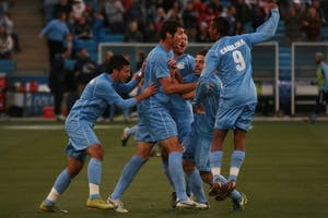 North Carolina celebrates Ben Speas' goal. It was his seventh of the season and would go on to be the game-winner in the College Cup national championship match.