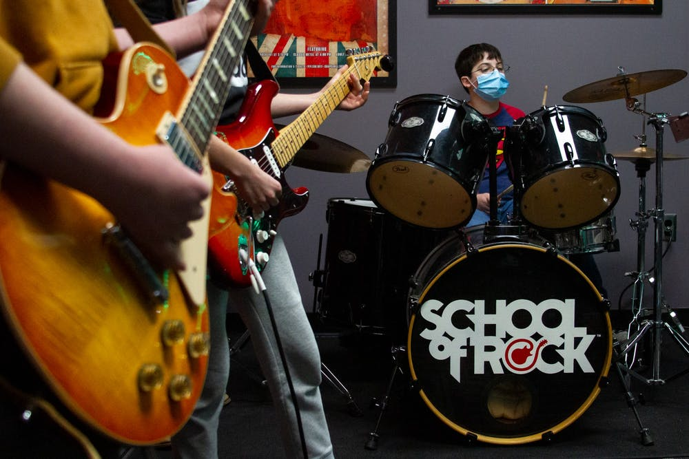 Students of School of Rock Chapel Hill rehearse on Monday, Feb. 15, for their upcoming mid-season preview show. The show will be streamed live from Cat's Cradle on Sunday, Feb. 28, 2021.
