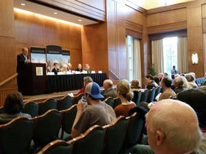 The Alumni Center hosted faculty panel about thepolitical landscape in North Carolina Wednesday.