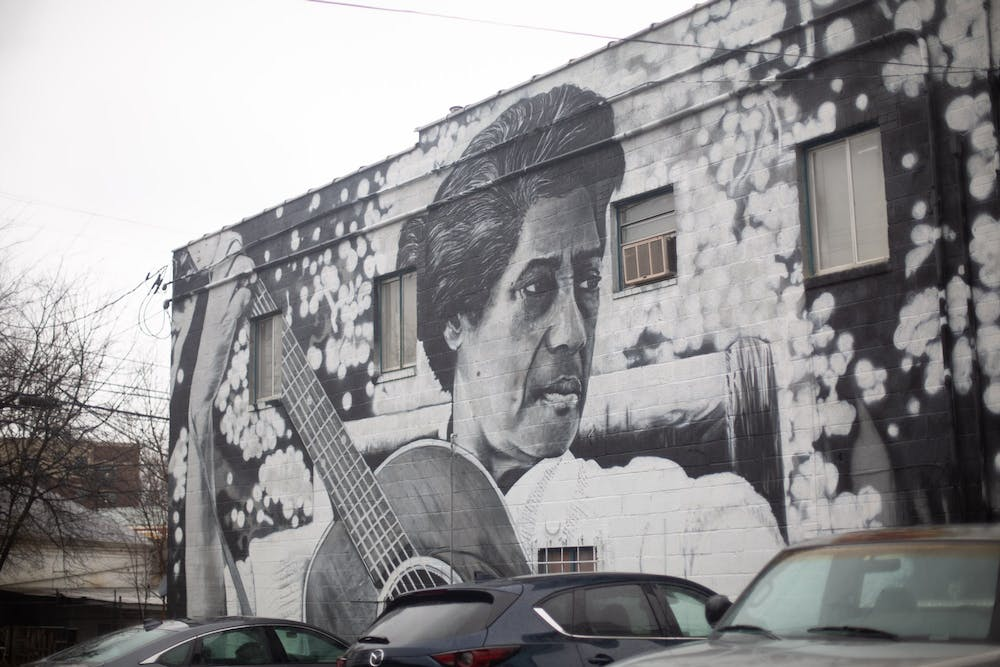 A mural of Elizabeth Cotten at 111 North Merritt Mill Road in Carrboro on Feb. 11, 2021