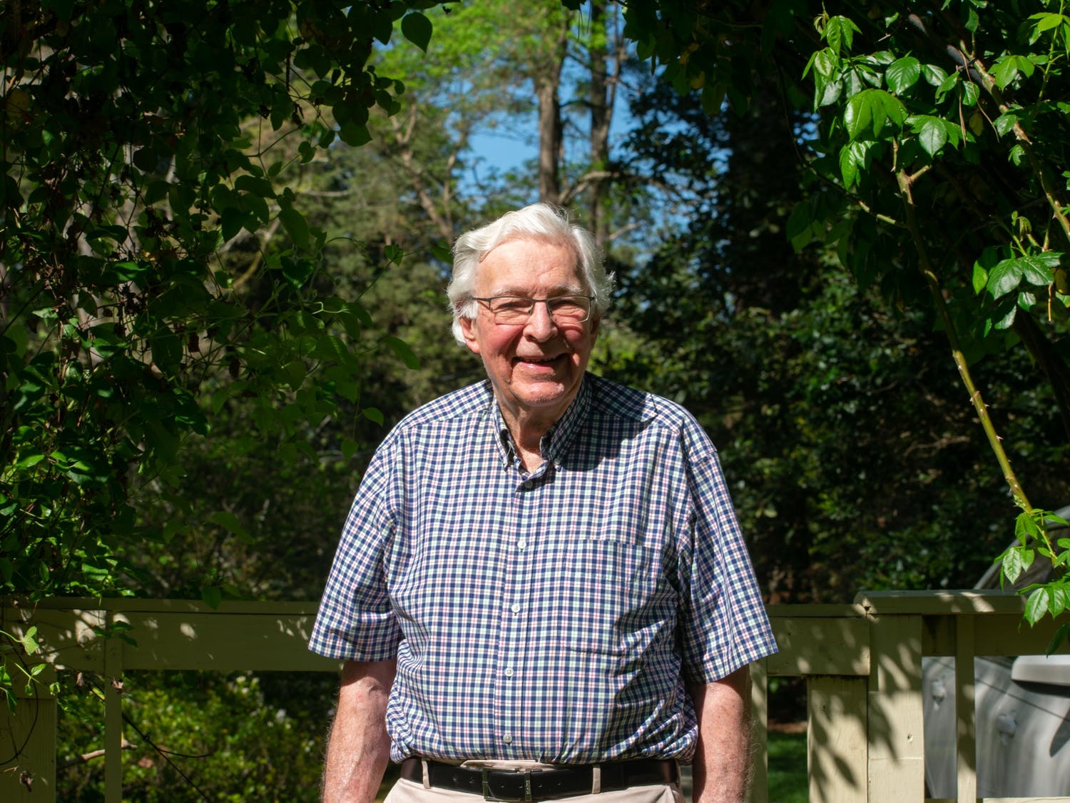Tom Henkel poses for a photo in his garden on April 12, 2021. Henkel is one of the key organizers of the Chapel Hill Alliance for a Livable Town and current member of the environmental stewardship. Since 2014, CHALT has successfully ran mayoral and Town Council candidates that share the organization's values of sustainable development.