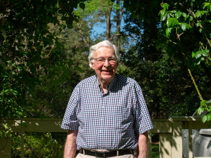 Tom Henkel poses for a photo in his garden on April 12, 2021. Henkel is one of the key organizers of the Chapel Hill Alliance for a Livable Town and current member of the environmental stewardship. Since 2014, CHALT has successfully run mayoral and Town Council candidates that share the organization's values of sustainable development.