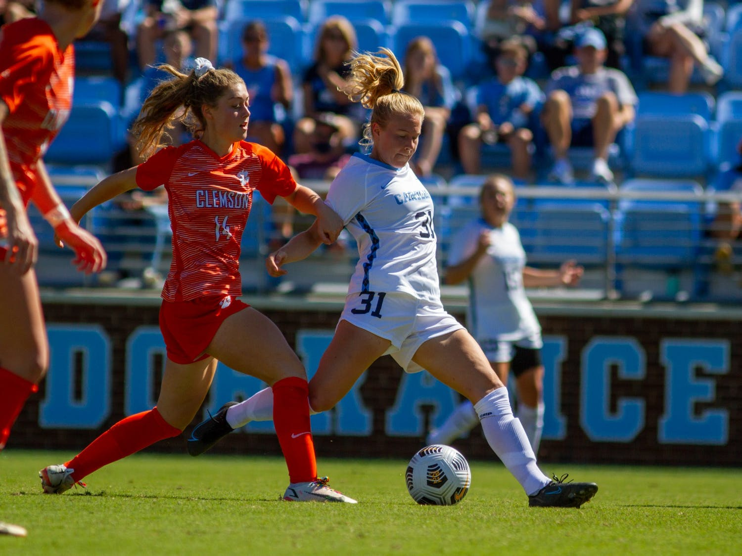 UNC freshman midfielder Annika Huhta (31) maintains possession of the ball the ball during a home game against Clemson at Dorrance Field on Sept. 26. UNC won 3-0.
