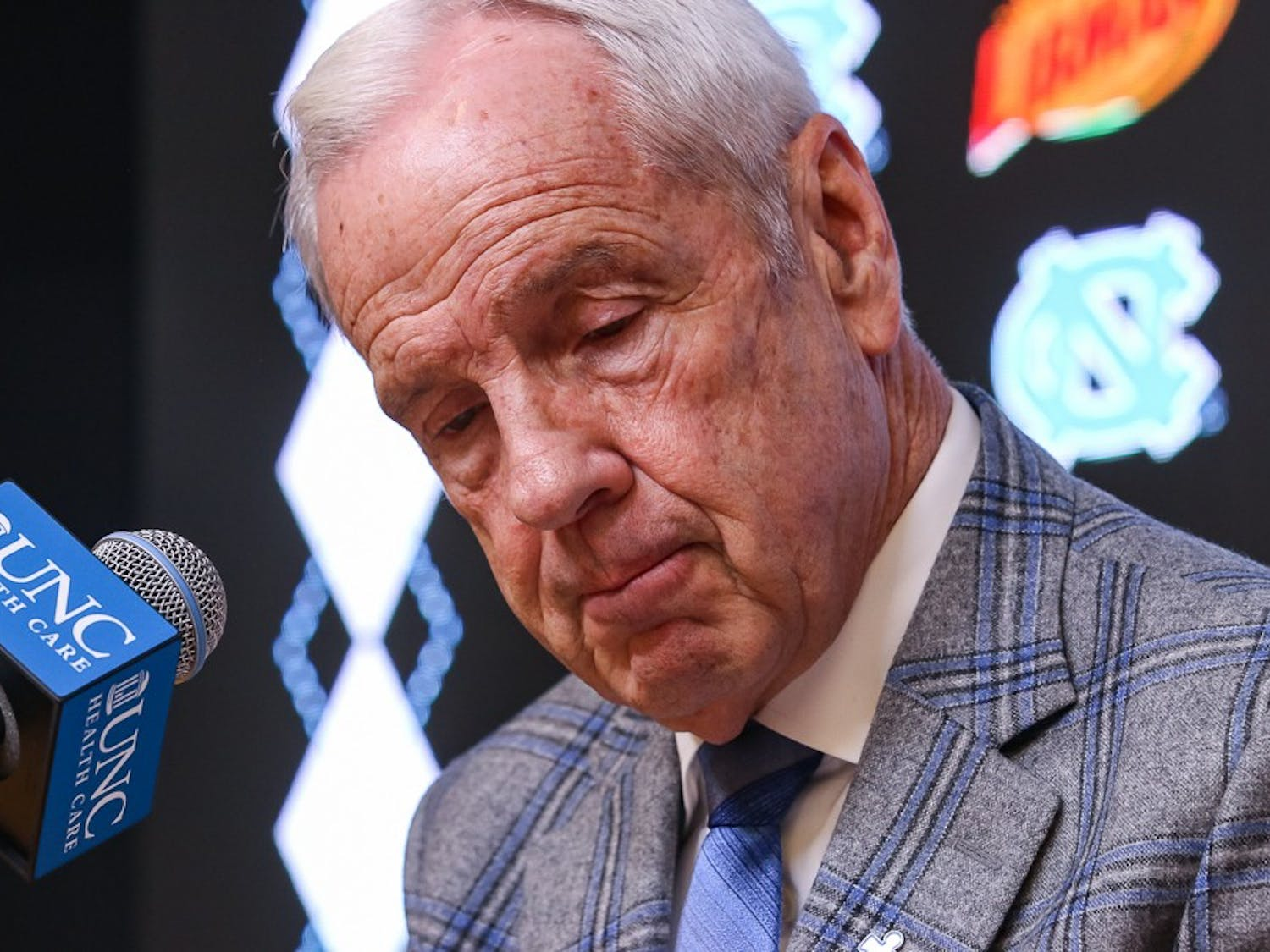 UNC's men's basketball coach Roy Williams speaks to press members after a game against Boston College in the Smith Center on Saturday, Feb. 1, 2020. UNC fell to Boston College by just one point in the last minutes of the game, making the final score 71-70.