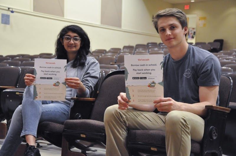 Anushkaa Jain (left) and Luke Durham (right) serve as UNC's ThriveCash Ambassadors. ThriveCash is an app that allows students at select universities who have internships to take out loans.