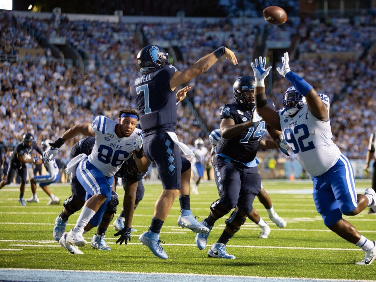 First-year quarterback Sam Howell (7) passes the ball in the homecoming game against Duke on Saturday, Oct. 26, 2019 in Kenan Memorial Stadium. UNC defeated Duke 20-17 for the first time in three years.