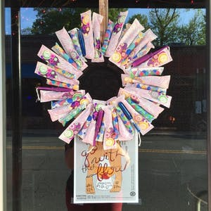 Wreath of tampons at the Go with the flow drive and benefit. Photo courtesy Allison De Marco.