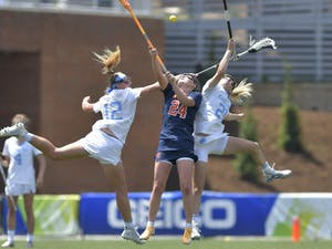 Elizabeth Hillman and Ally Mastroianni fight for possession against Syracuse players during the ACC Tournament Championship at Dorrance Field on Sunday, May 2, 2021. Photo courtesy of Dana Gentry.
