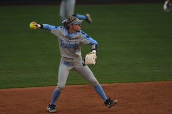 UNC senior second baseman Campbell Hutcherson (5) throws the ball during the Elon Game on Wednesday, Feb. 26, 2020 in G. Anderson Softball Stadium. UNC lost to Elon 2-1.