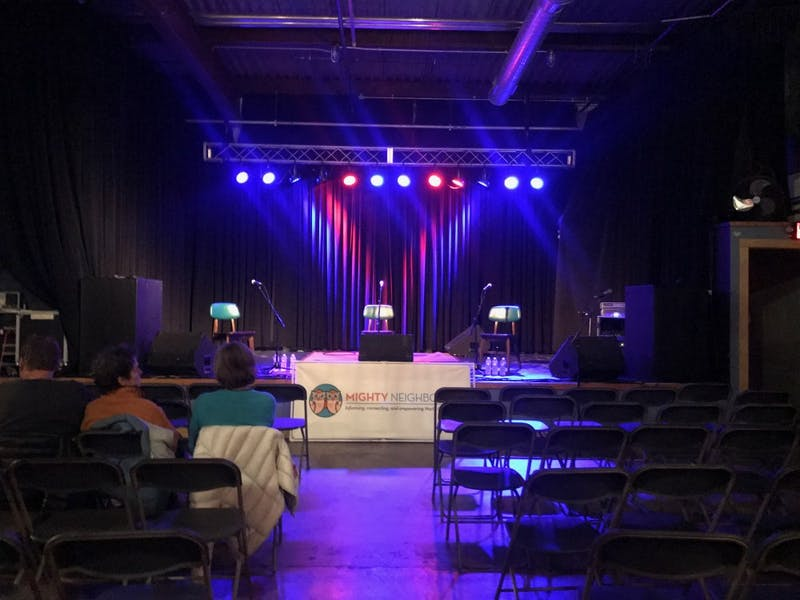The stage is set for the Carrboro Mayoral Debate, held at Cat's Cradle.