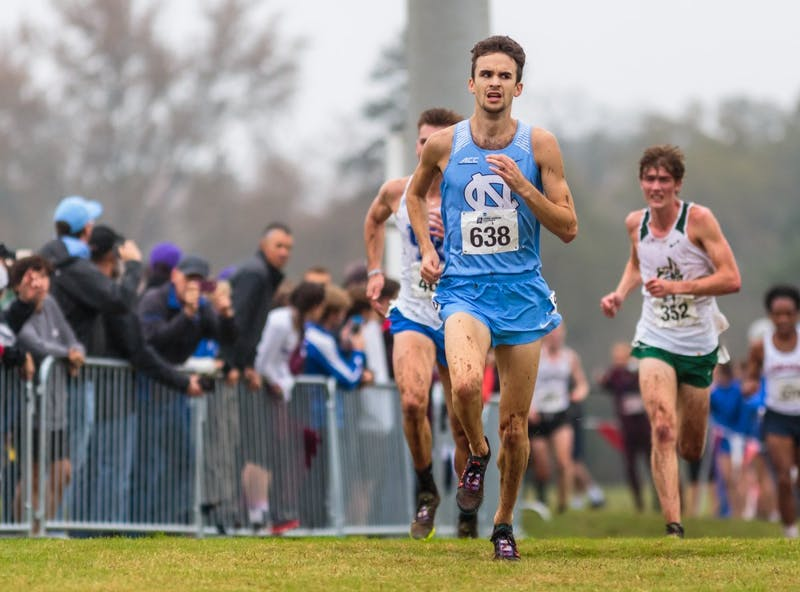 Nick Golebiowski sprints toward the finish line of the men's 10k during the NCAA Southeast Regional Championships at Winthrop University in Rock Hill, SC on Friday, Nov. 9 2018.