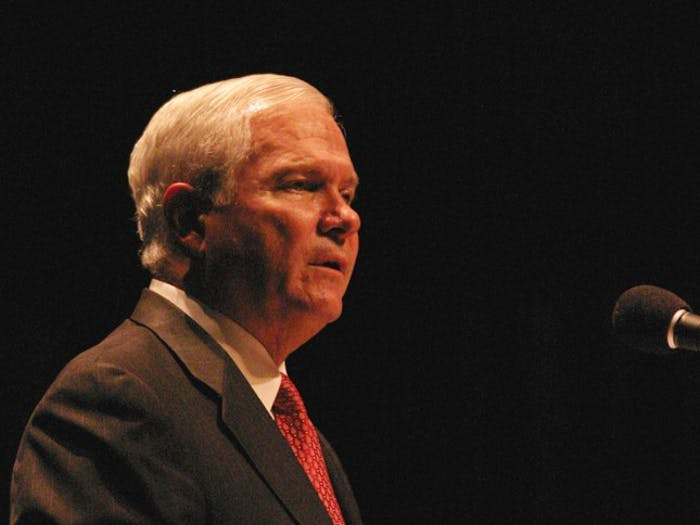 """Secretary of Defense Robert Gates spoke at Duke University on Wednesday. """"If America's best and brightest young people will not step forward, who then can we count on to protect and sustain the greatness of the country?"""" he said."""