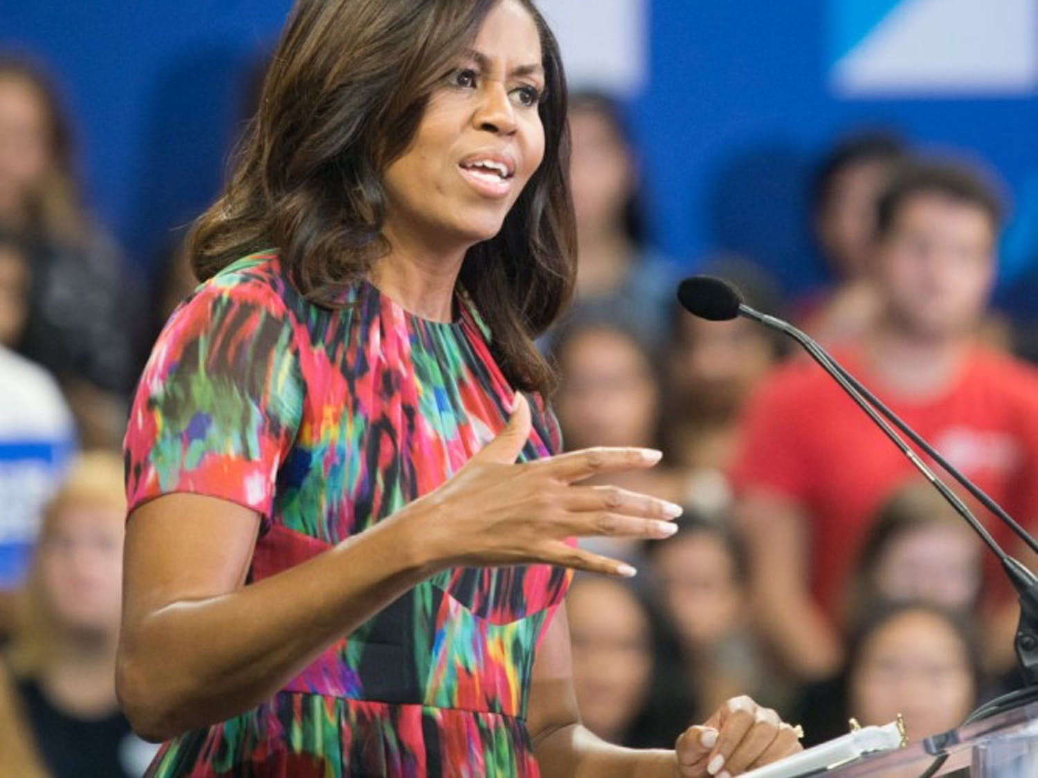 First Lady Michelle Obama campaigns for Hillary Clinton at the Reynolds Coliseum at NC State on Tuesday. She encouraged undecided people to vote for a candidate.