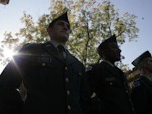UNC ROTC Army cadets stand at ease waiting for the annual UNC Veterans Day Ceremony to begin in 2012. The ceremony, which usually takes place at Gerrard Hall, was held at the Carolina Alumni Memorial in Memory of Those Lost in Military Service between Phillips and Memorial halls.