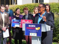 Kendra Johnson, executive director of Equality NC, speaks about the importance of HB 516, which would ban conversion therapy. The press conference was at the North Carolina State Legislature building on Thursday, March 28, 2019.