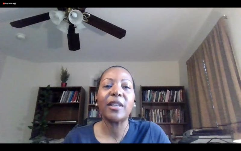 Kia Caldwell, professor in the African, African American and Diaspora Studies Department, speaks during the Solidarity and Action Virtual Vigil on Monday, June 15, 2020.