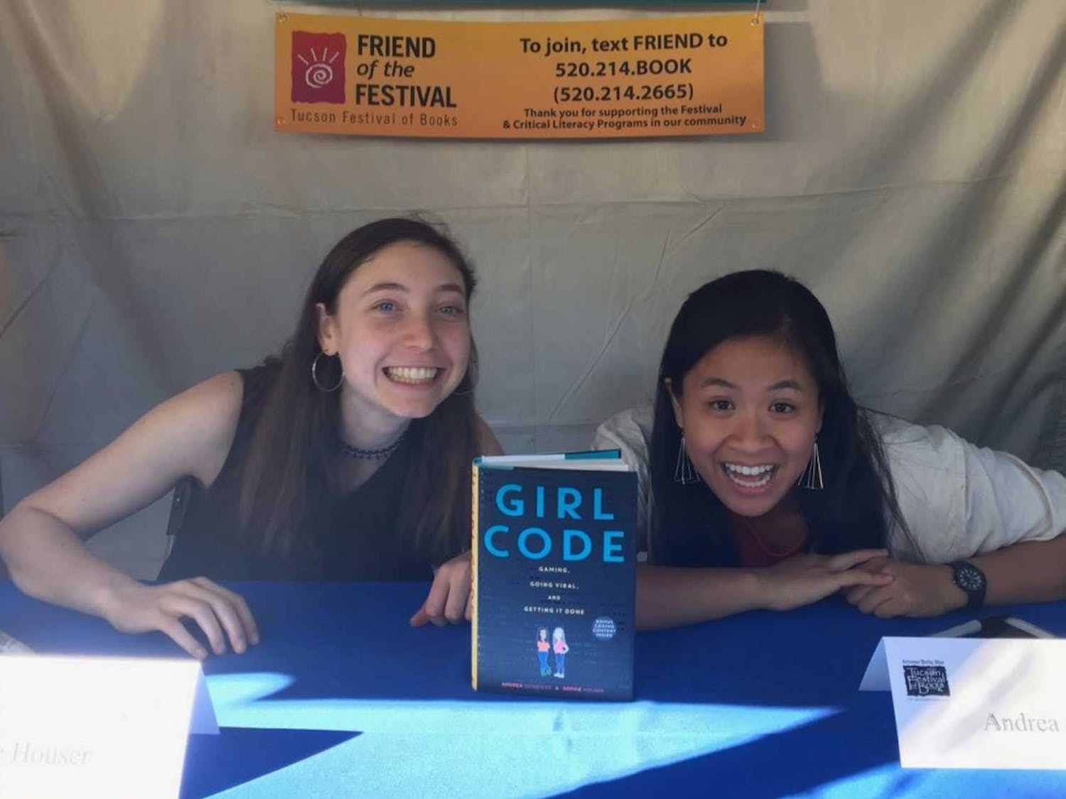 """Along with her friend Sophie Houser, left, Annie Gonzales, right, co-authored """"Girl Code,"""" a young adult non-fiction book detailing her and Houser's journeys into computer science, GWC, and becoming viral game developers. Photo courtesy of Gonzales."""