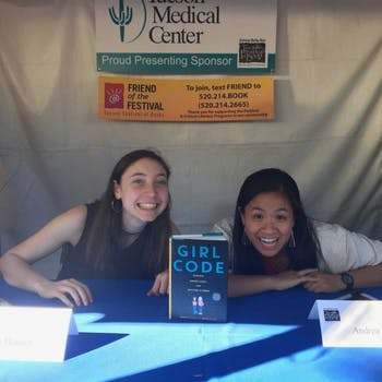 "Along with her friend Sophie Houser, left, Annie Gonzales, right, co-authored ""Girl Code,"" a young adult non-fiction book detailing her and Houser's journeys into computer science, GWC, and becoming viral game developers. Photo courtesy of Gonzales."