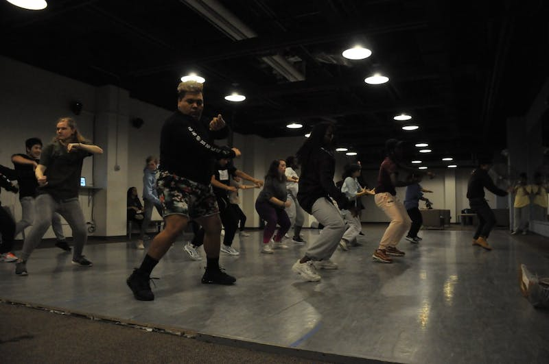 UNC students dace during Kamikazi's dance workshop on Sunday, March 3, 2019 in the Student Union.
