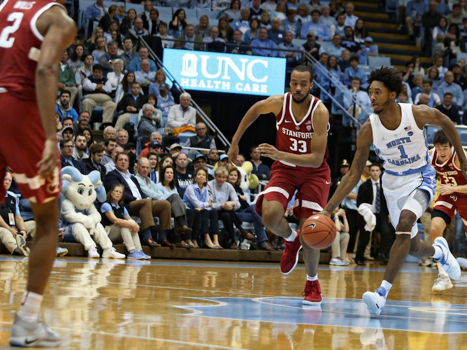 "UNC guard Rechon ""Leaky"" Black (1) advances the ball against Stanford on Monday, Nov.12, 2018 in the Dean Smith Center. UNC won 90-72."
