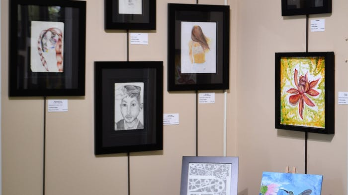 Artwork by Hannah Gettes, a former Orange County school graduate who died in February, is on display at Hannah's Hope art exhibit at Margaret Lane Gallery in Hillsborough, NC. Photo courtesy of Mary Knox.