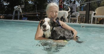 Greta Johnson brought her dog Cody to the Dog Swim at the A.D. Clark Pool, Sunday. Admission was $5 per dog and goes to Chapel Hill Parks and Recreation.
