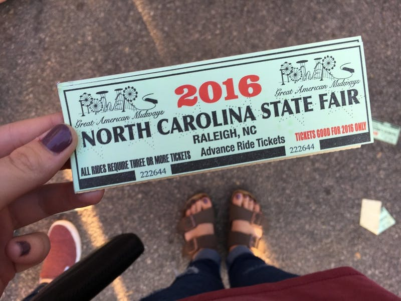 An advanced ride ticket book for the NC State Fair.