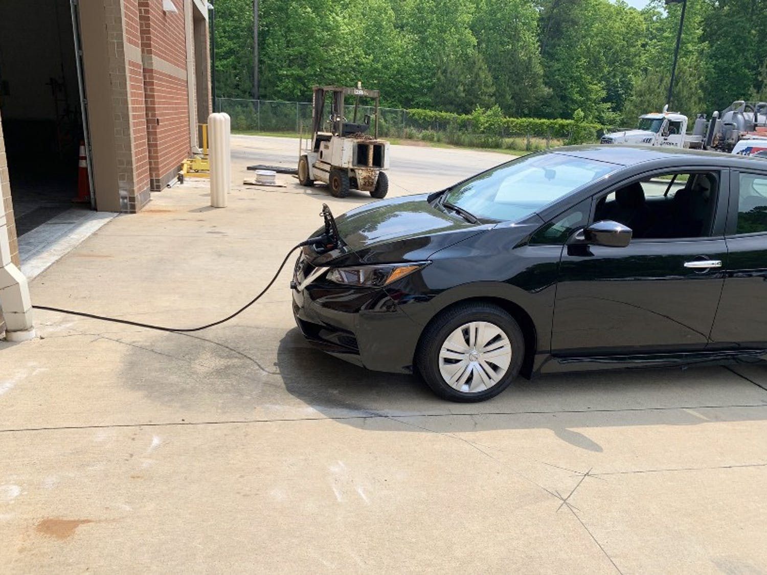One of the electric cars that is set to be joining Chapel Hill Transit's fleet is charging. Photo courtesy of Brian M. Litchfield.