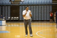 """Sean May is in his fourth year with the UNC men's basketball team, and second as director of operations. """"It doesn't feel like work,"""" says May, the 2005 Final Four Most Outstanding Player."""