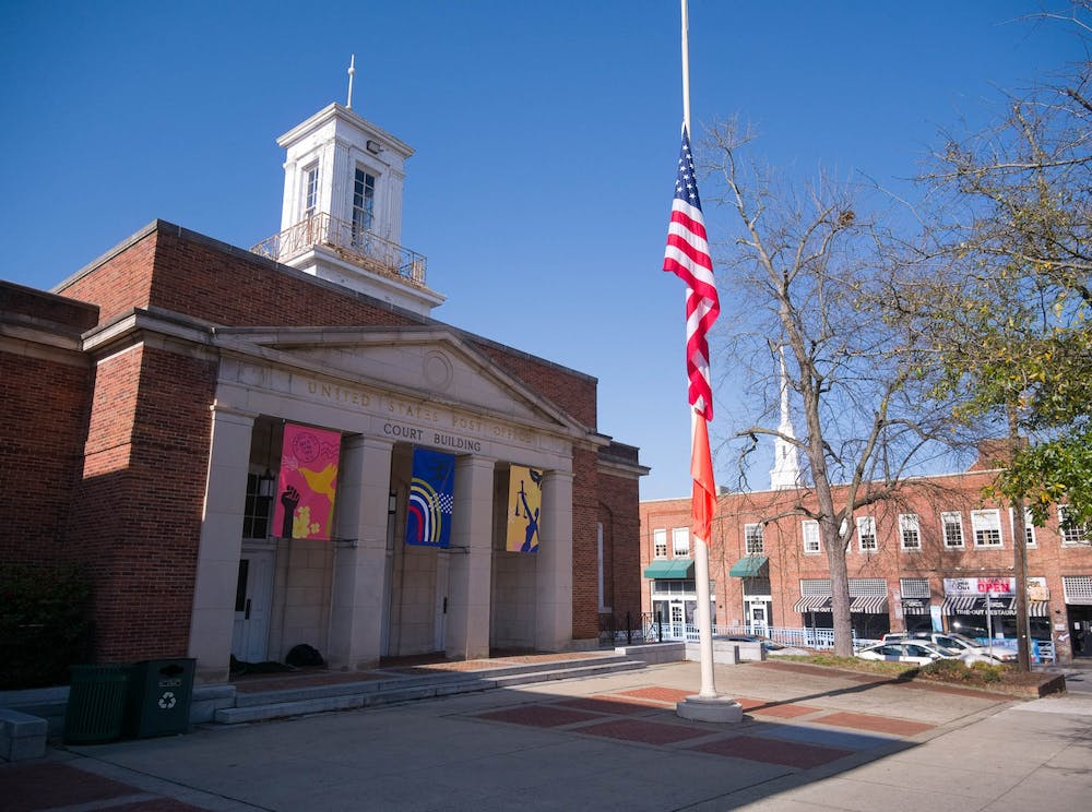 The Chapel Hill Courthouse stands at the corner of E Franklin St and Henderson St on Friday, Mar. 19, 2021.
