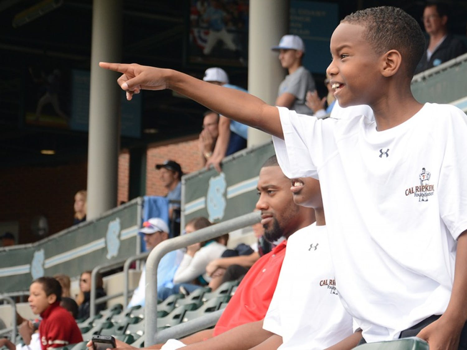 Amir McClain spots a foul ball during the UNC Baseball game on Saturday.