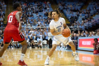 Winston-Salem State junior Justice Kithcart (0) guards UNC first-year guard Cole Anthony (2) at the exhibition game on Friday, Nov. 1, 2019 in the Smith Center. UNC won 96-61.
