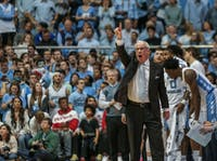 Roy Williams yells during the home game against Duke on Saturday, March 9 2019 at the Smith Center. The Tar Heels defeated the Blue Devils 70-79 on their senior night, finishing as ACC regular season champions.