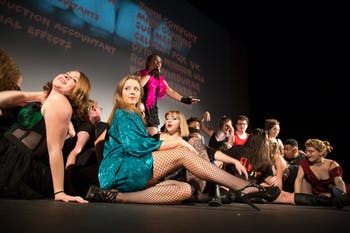 """The A Cast for UNC Pauper Players presentation of The Rocky Horror Picture Show rehearsed on Tuesday night for their opening show on Friday Oct. 26, 2018 at Varsity Theatre. Members of the group have spearheaded the creation of an """"Arts for Everyone"""" forum."""