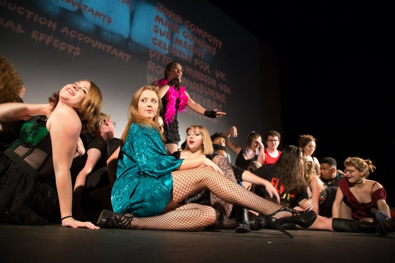 "The A Cast for UNC Pauper Players presentation of The Rocky Horror Picture Show rehearsed on Tuesday night for their opening show on Friday Oct. 26, 2018 at Varsity Theatre. Members of the group have spearheaded the creation of an ""Arts for Everyone"" forum."