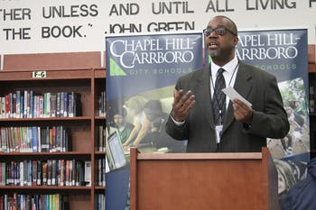 Darren Bell, creator of Chapel Hill Carrboro City School's Community Connection Program speaks at Smith Middle School on Feb. 5.