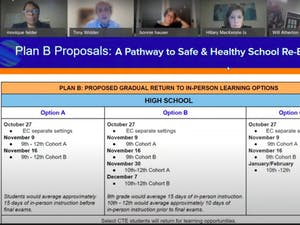 Screenshot from the virtually-held Orange County School Board meeting last weekend where reopening plans for elementary, middle, and high schools were discussed.