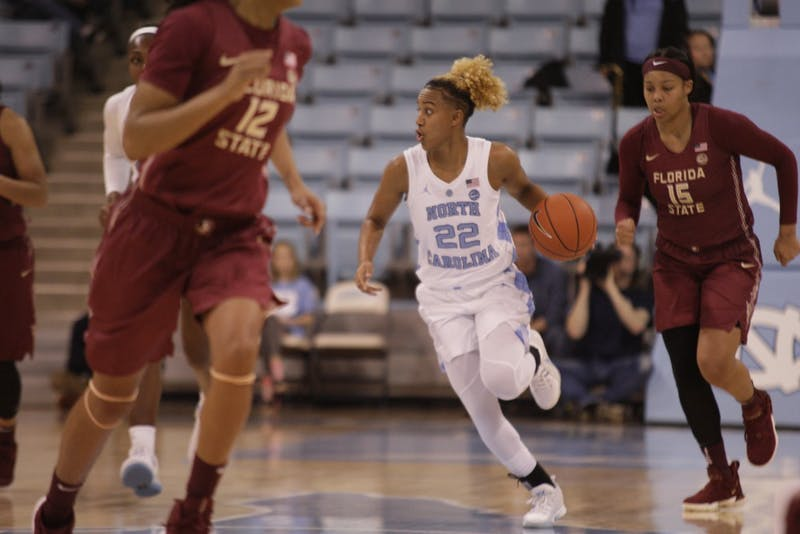 UNC Guard Paris Kea (22) dribbles down the court during a game against FSU in Carmichael Arena on Sunday, Jan. 6, 2019. UNC lost 63-64.